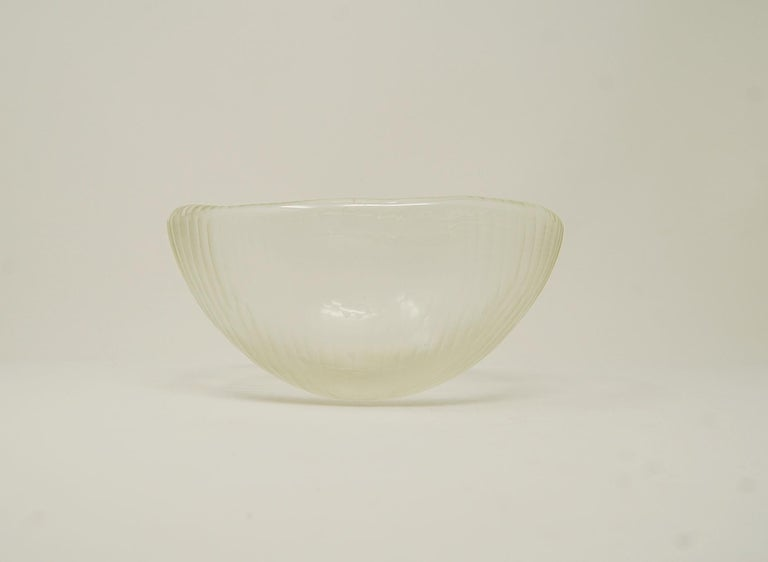 Mid-Century Modern Vintage Murano Art Glass Bowl with Battuto Surface For Sale