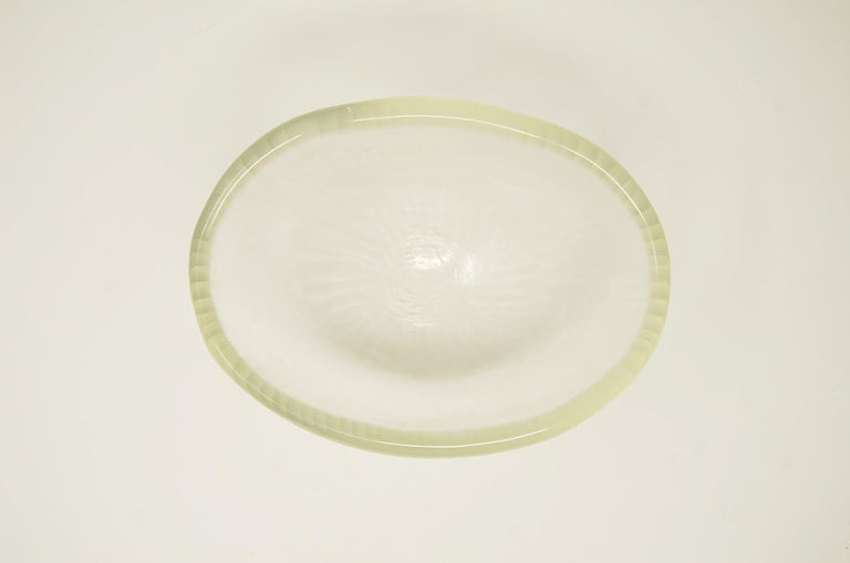 Italian Vintage Murano Art Glass Bowl with Battuto Surface For Sale
