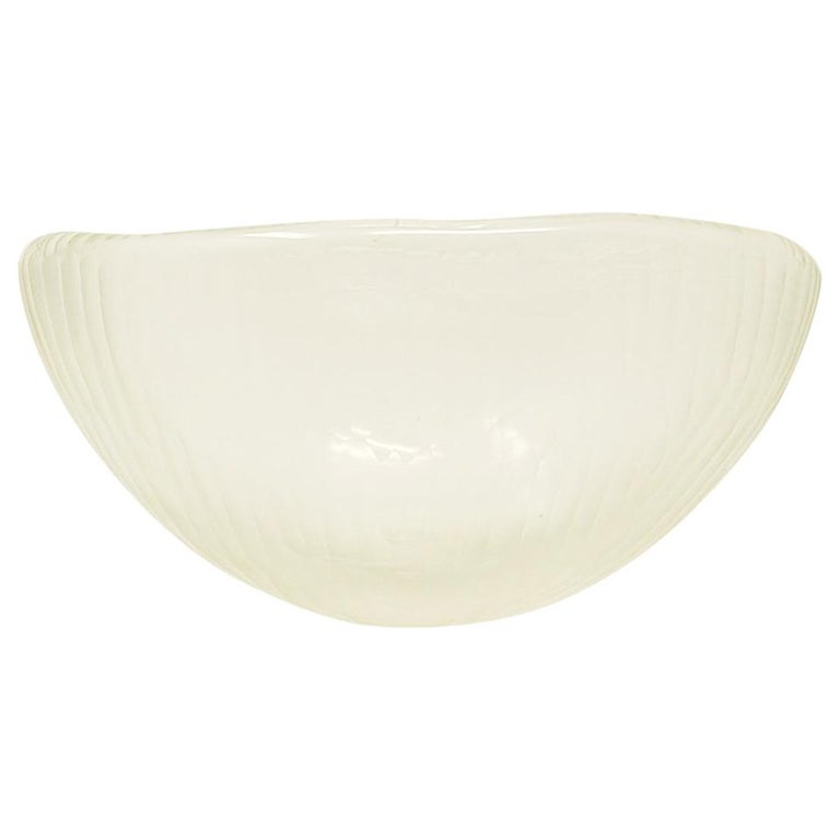 Vintage Murano Art Glass Bowl with Battuto Surface For Sale