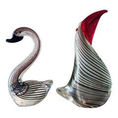 Vintage Murano Art Glass Dino Martens Swan and Seagull Midcentury Pair