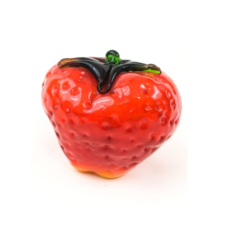 Vintage Murano art glass monumental red strawberry sculpture: blown-glass, pop art and truly adorable.