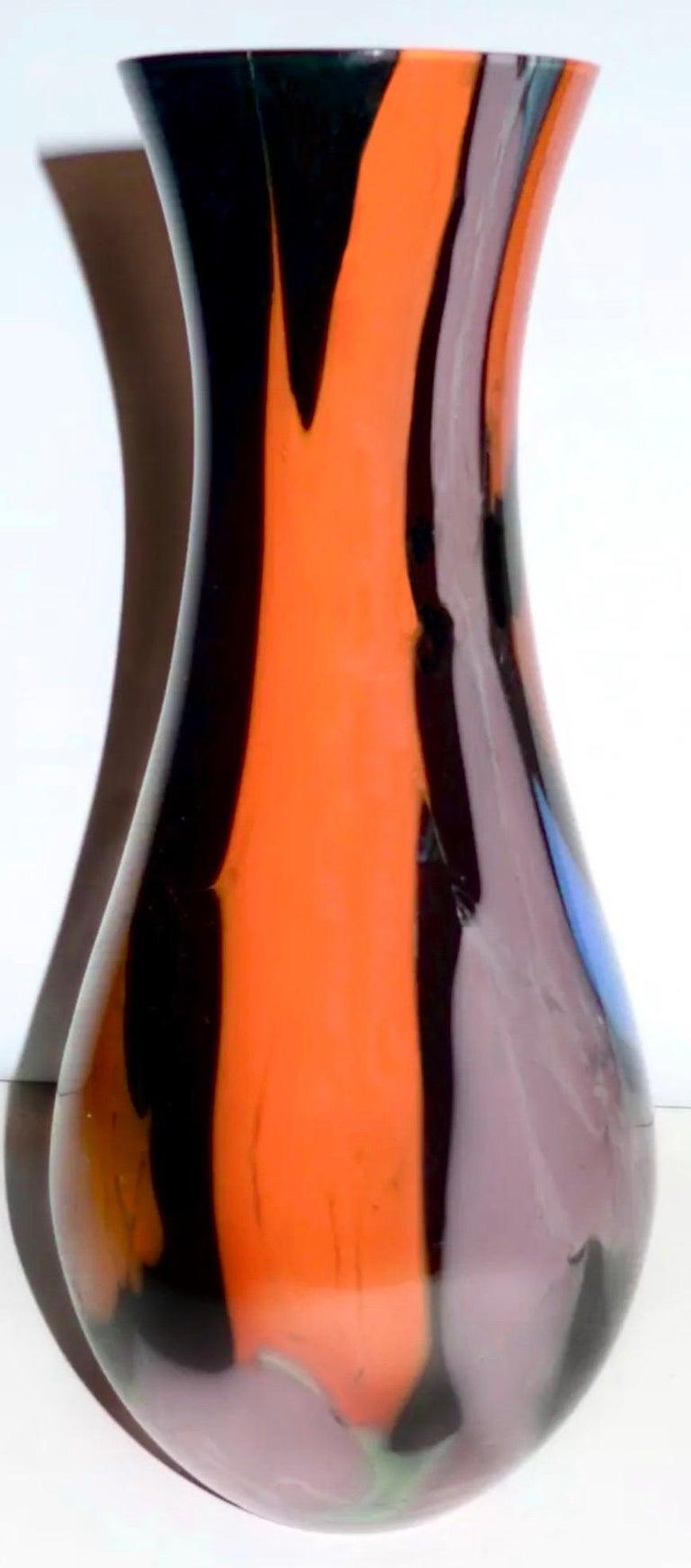 Vintage Murano Art Glass Signed Seguso Multicolored Vase, Italian Midcentury For Sale 1