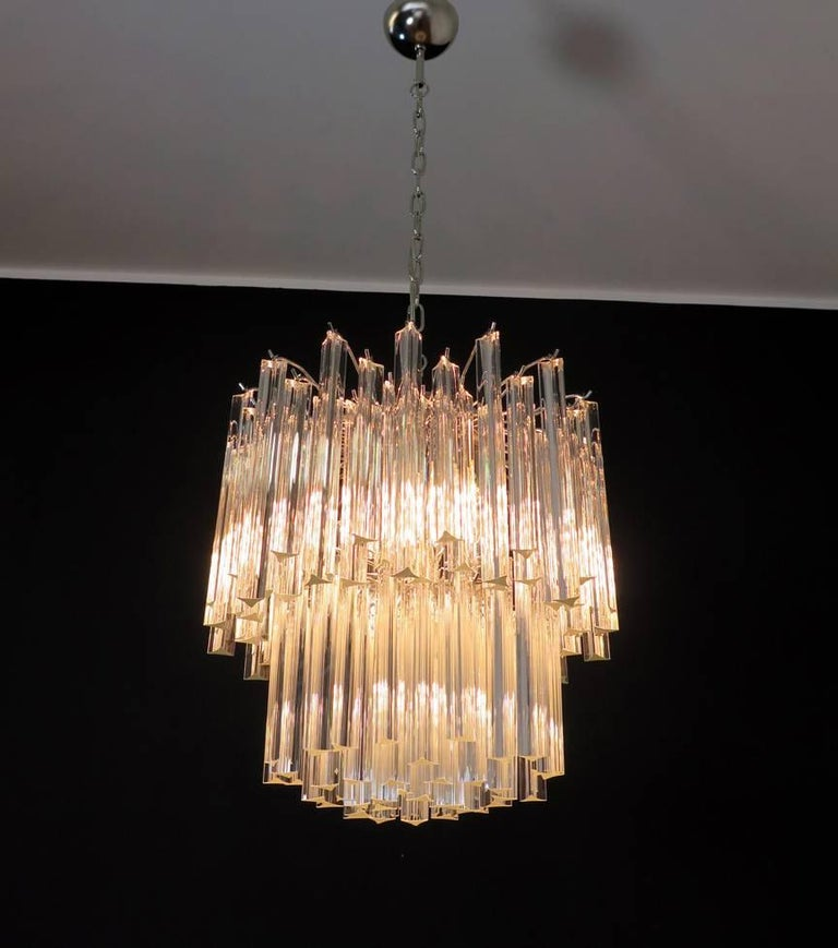 Fantastic vintage Murano chandelier made by 107 Murano crystal prism