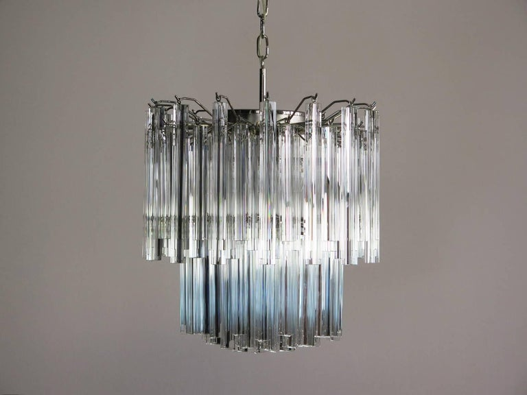 Late 20th Century Vintage Murano Chandelier – 107 Transparent Prism Triedri, Arianna Model For Sale