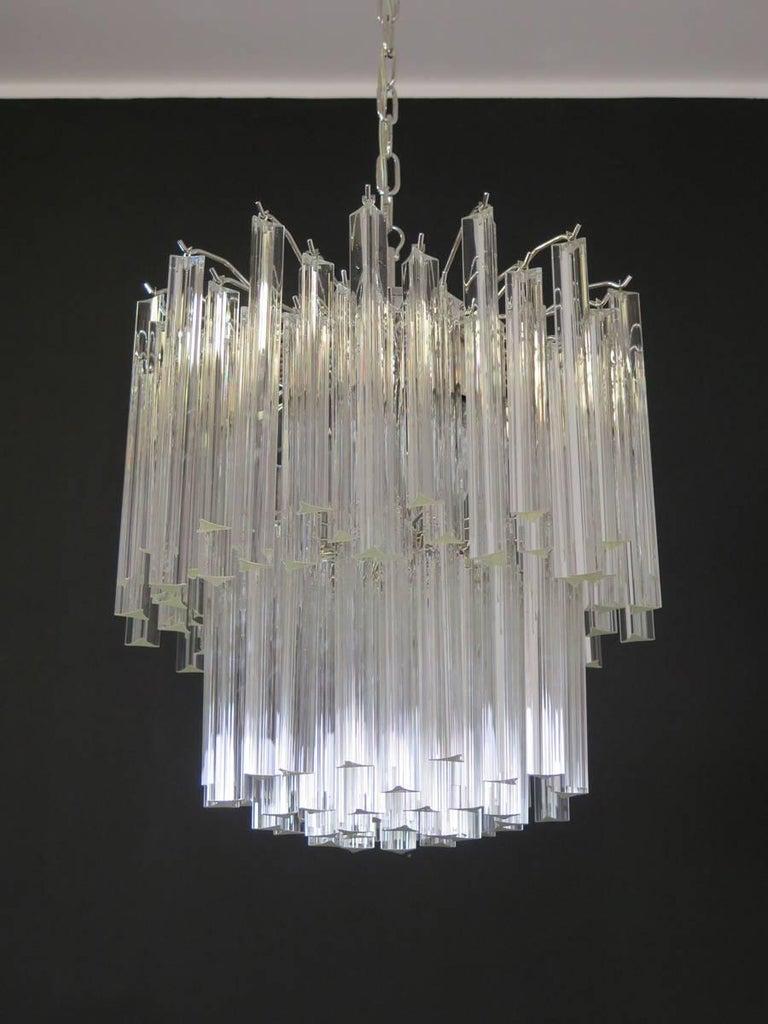 Blown Glass Vintage Murano Chandelier – 107 Transparent Prism Triedri, Arianna Model For Sale