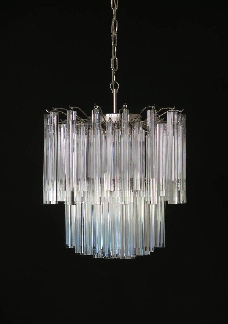 Vintage Murano Chandelier – 107 Transparent Prism Triedri, Arianna Model For Sale 1