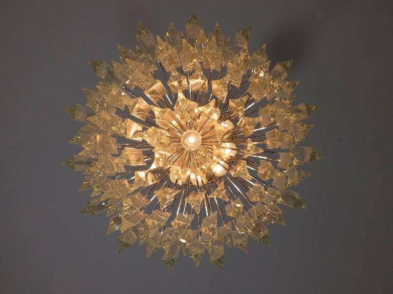 Vintage Murano Chandelier – 107 Transparent Prism Triedri, Arianna Model For Sale 2