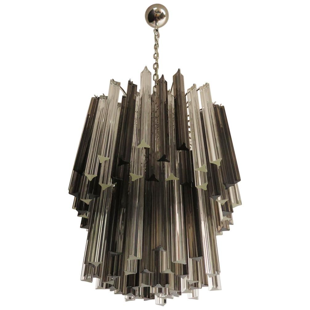 Vintage Murano Chandelier, 107 Prism Triedri, Trasparent and Smoked