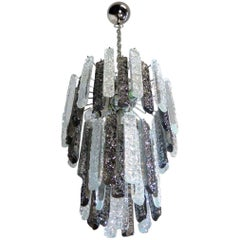 Vintage Murano Chandelier 44 Prism Icicle, Transparent and Smoke