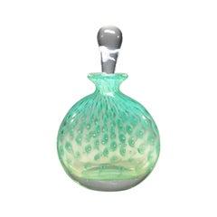 Vintage Murano, Eau-de-Nil Barbini, Controlled Bubble Italian Perfume Bottle