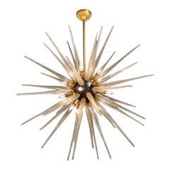 Vintage Murano Glass and Brass Sputnik Chandelier
