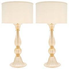 Vintage Murano Glass Avventurina Lamps