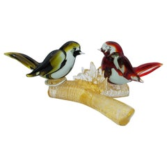 Vintage Murano Glass Birds on Branch in Red and Green Color by Cenedese, 1960s