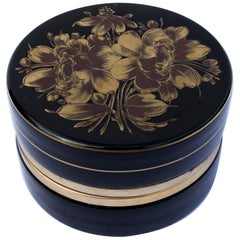 Vintage Murano Glass Box with Gilt Decoration