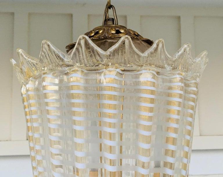 Vintage Murano Glass and Brass Pendant Light 4