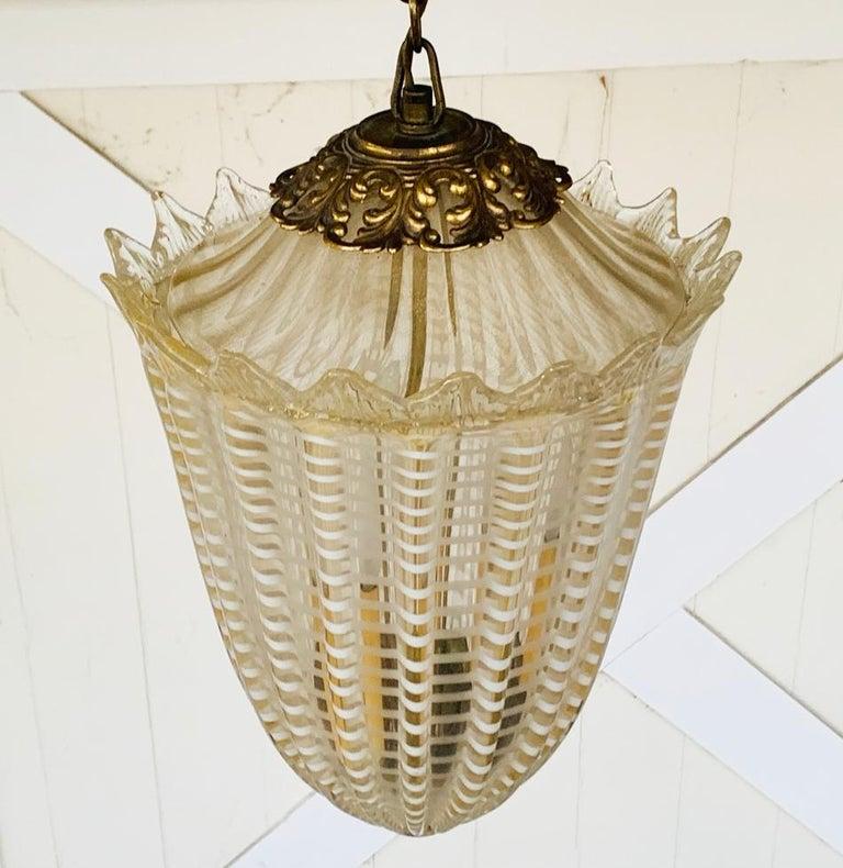 Mid-Century Modern Vintage Murano Glass and Brass Pendant Light