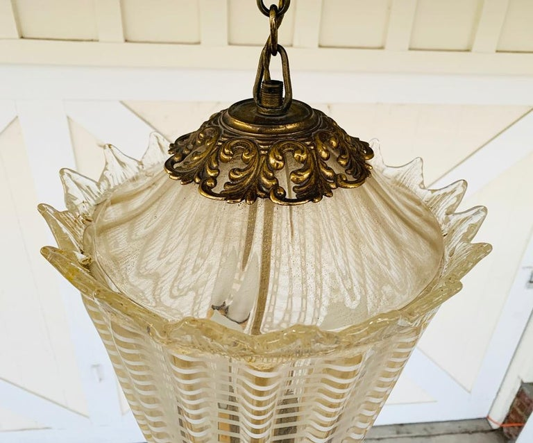 Vintage Murano Glass and Brass Pendant Light In Good Condition In Los Angeles, CA