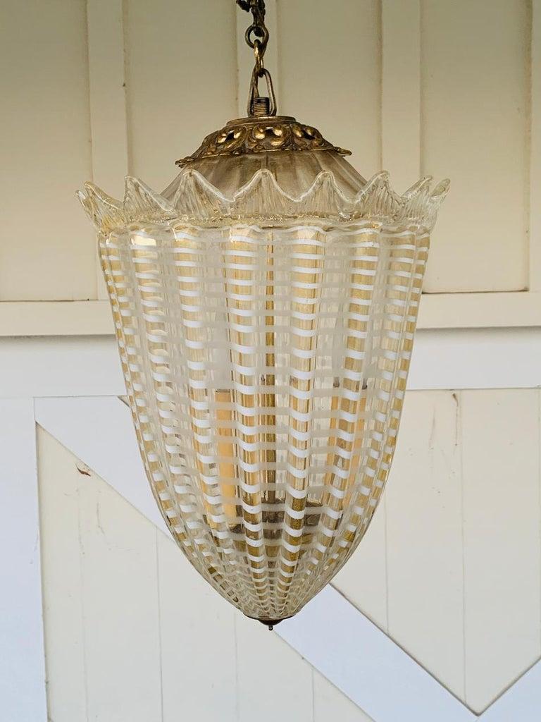 Mid-20th Century Vintage Murano Glass and Brass Pendant Light
