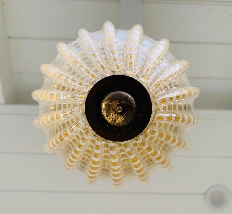Vintage Murano Glass and Brass Pendant Light 1