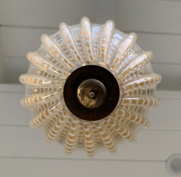 Vintage Murano Glass and Brass Pendant Light 2
