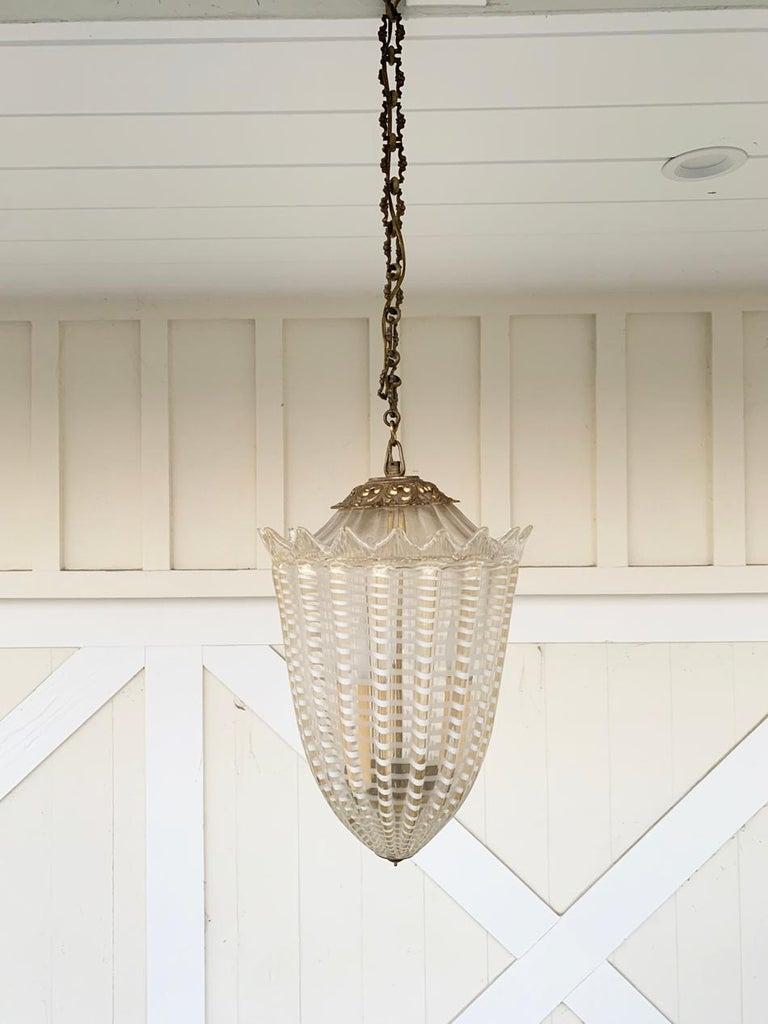 Vintage Murano Glass and Brass Pendant Light 3