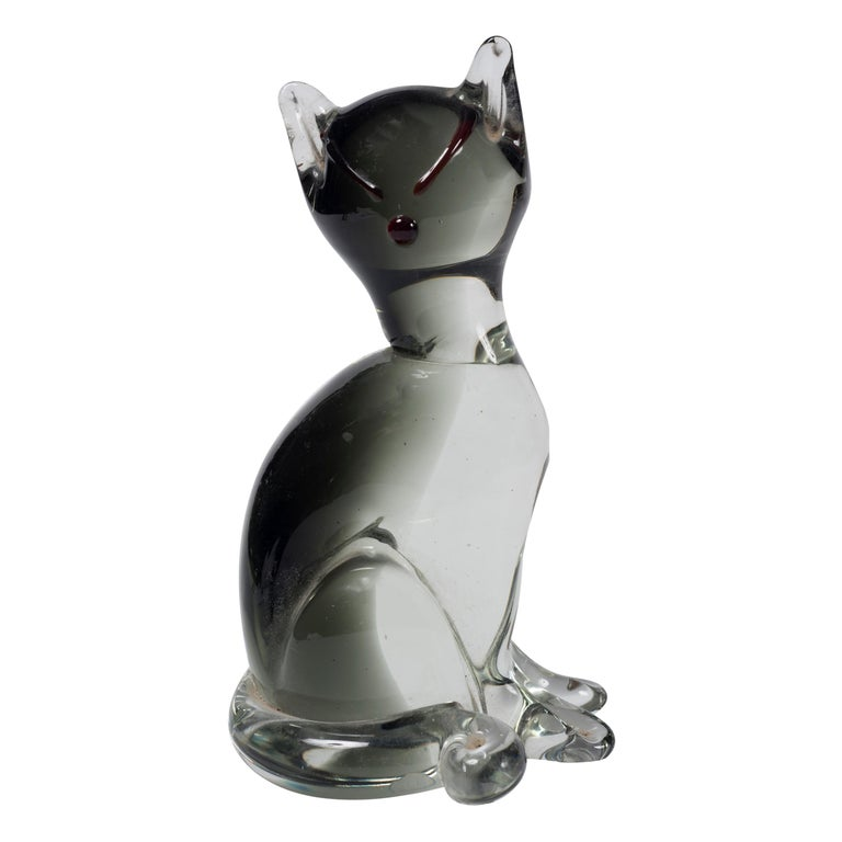 Vintage Murano Glass Cat by Carlo Moretti, 1980s For Sale