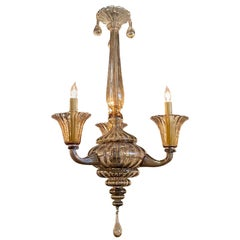 Vintage Murano Glass Champagne Colored Chandelier with 3 Lights