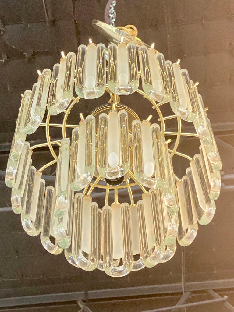 Vintage Murano Glass Chandelier Italian Brass Cage In Good Condition For Sale In West Palm Beach, FL
