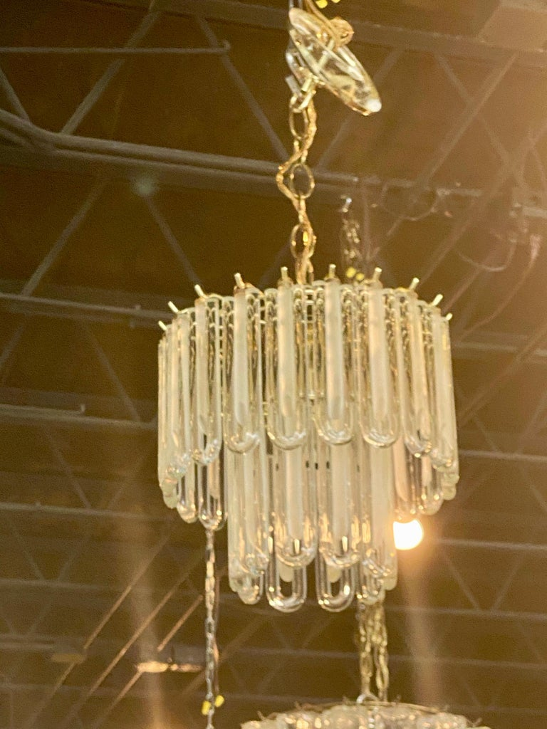 Vintage Murano Glass Chandelier Italian Brass Cage For Sale 1