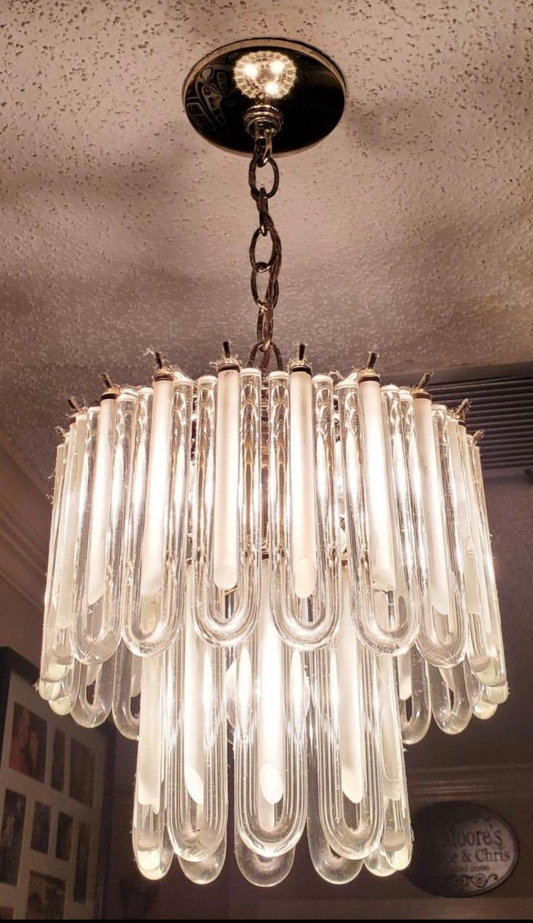 Vintage Murano Glass Chandelier Italian Brass Cage For Sale 2
