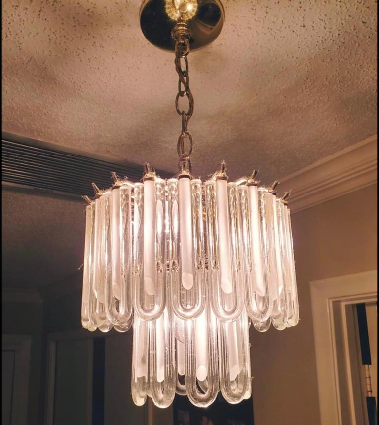 Vintage Murano Glass Chandelier Italian Brass Cage For Sale 3
