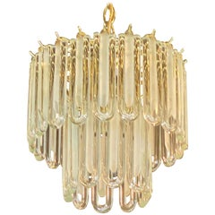 Vintage Murano Glass Chandelier Italian Brass Cage