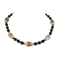 Vintage Murano glass Cooper-black Italian Lampwork Necklace