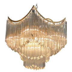 Vintage Murano Glass Draped Pagoda Chandelier Brass Italian