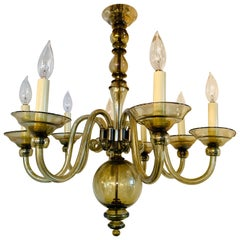 Vintage Murano Glass Eight Arm Chandelier in Smoky Olive Green