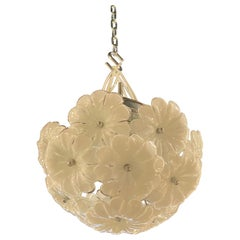 Vintage Murano Glass Flower Ceiling Flush Mount Chandelier