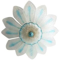 Vintage Murano Glass Flower Flush Mount or Ceiling Chandelier, 1970