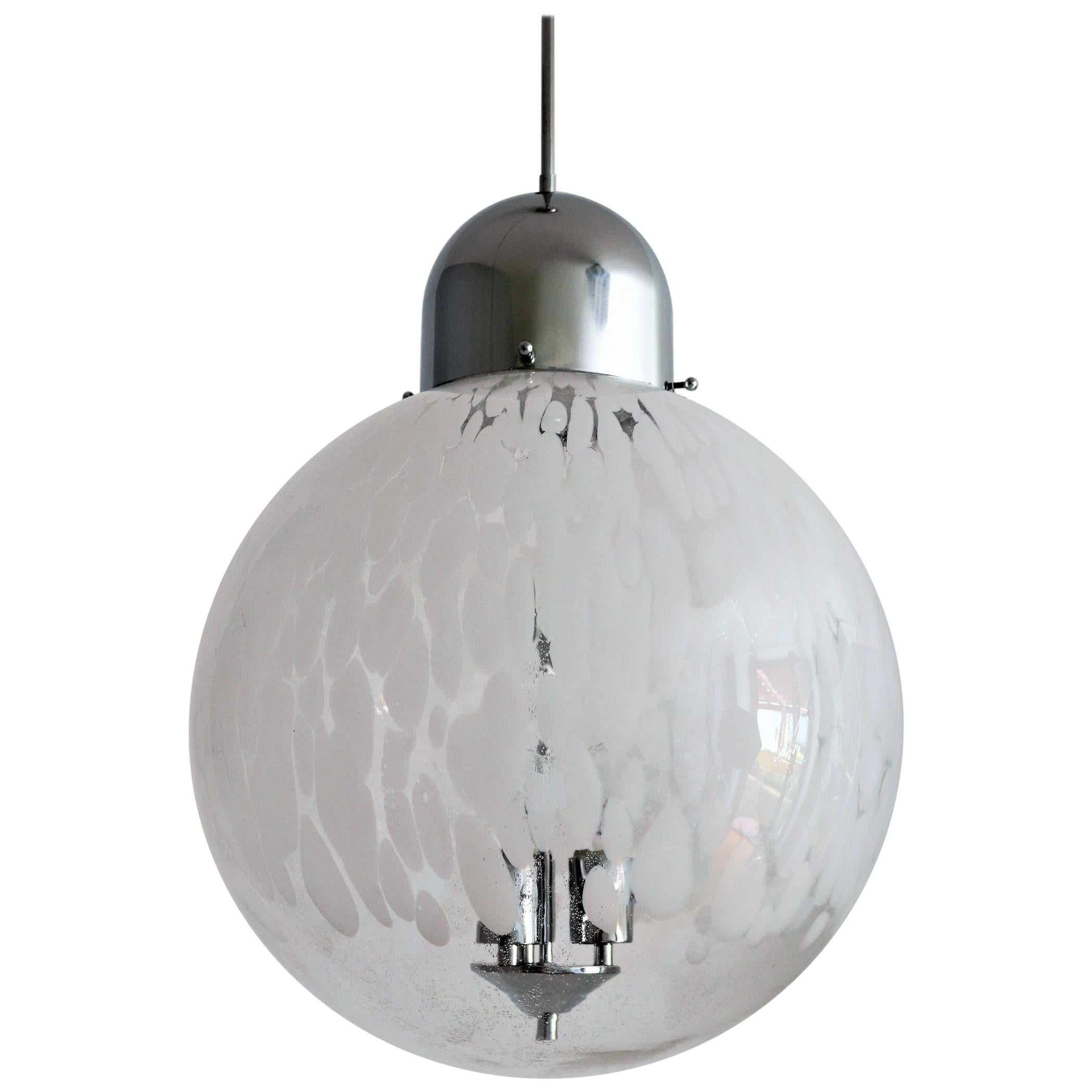 Italian Murano Glass Globe and Chrome Pendant Light, 1970s