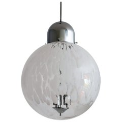 Italian Murano Glass Globe and Chrome Pendant Light, 1970s
