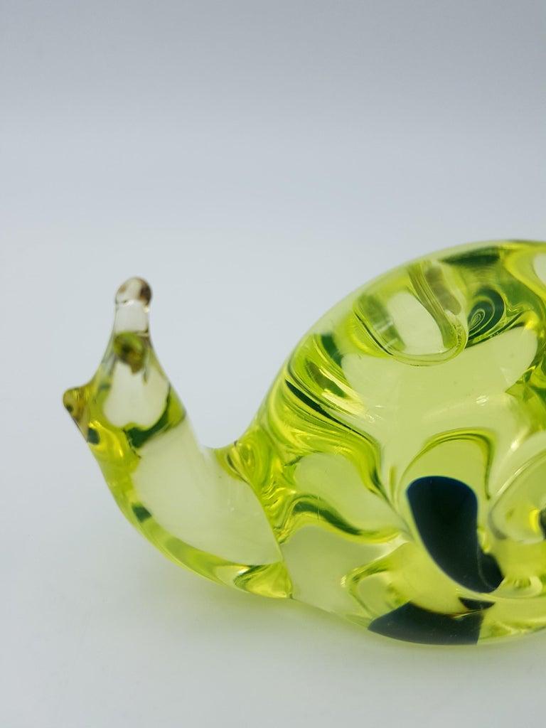 Vintage Murano Glass Snail with Blue Bubble, Gino Cenedese E Figlio, Da Ros 1960 For Sale 9