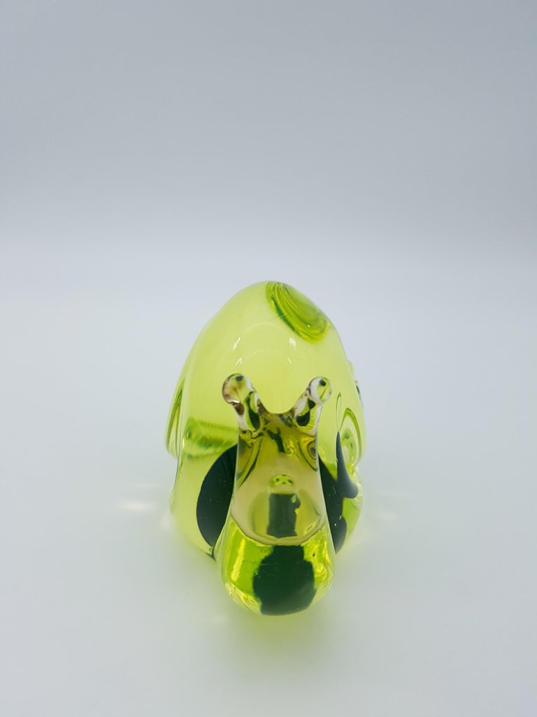 Hand-Crafted Vintage Murano Glass Snail with Blue Bubble, Gino Cenedese E Figlio, Da Ros 1960 For Sale