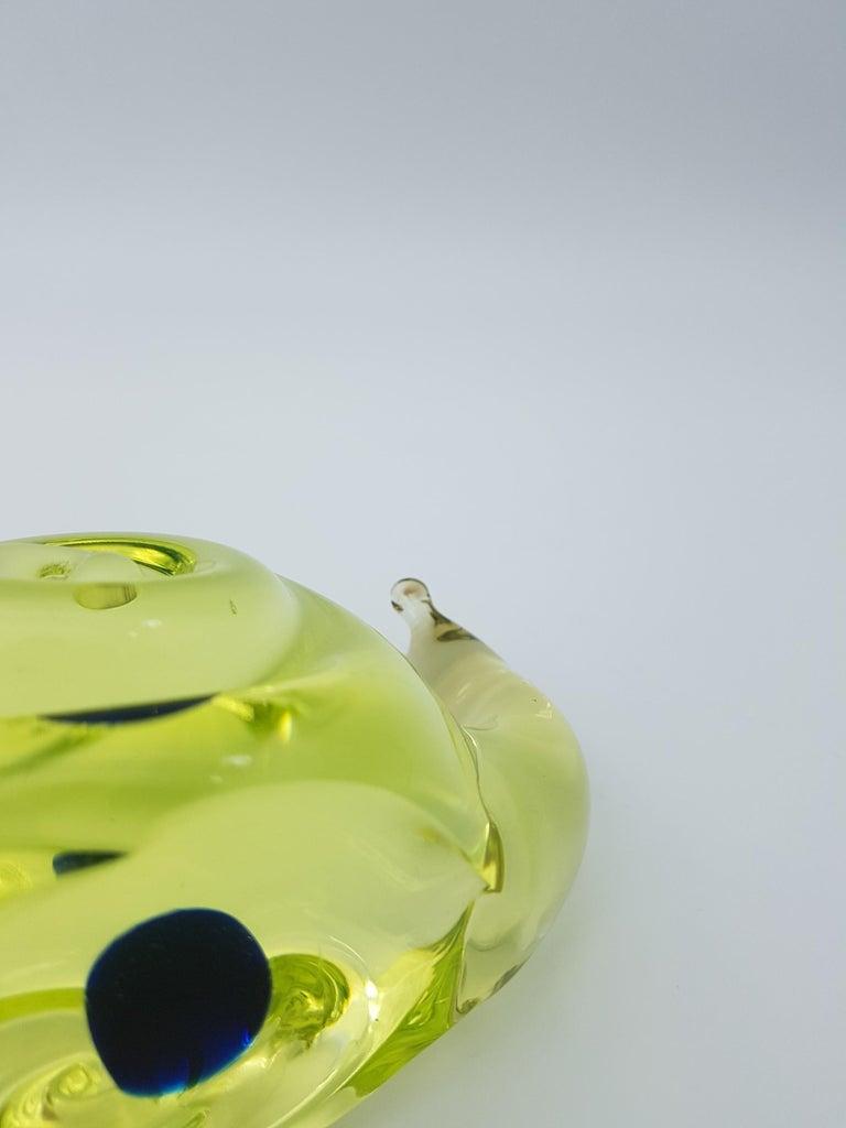 Vintage Murano Glass Snail with Blue Bubble, Gino Cenedese E Figlio, Da Ros 1960 For Sale 3