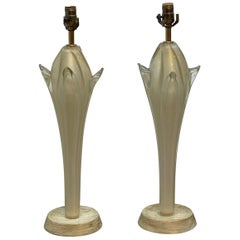 Vintage Murano Glass Table Lamps a Pair