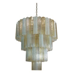 Vintage Murano Glass Tiered Chandelier, 78 Glasses, Amber Opal Silk Transparent