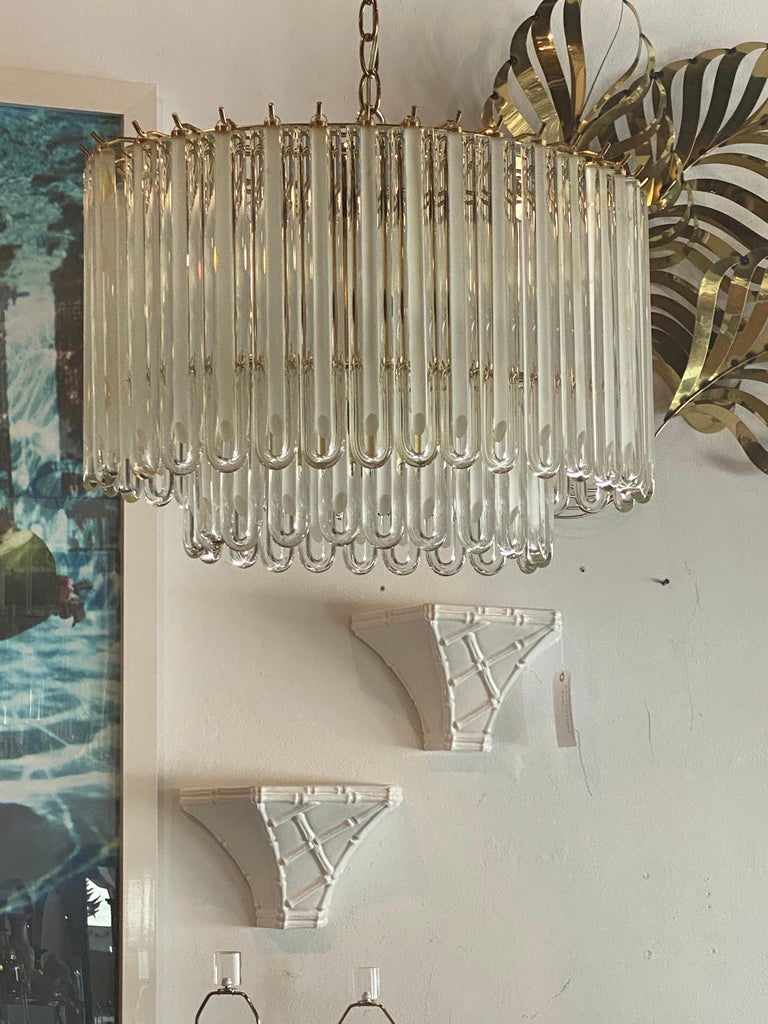 Hollywood Regency Vintage Murano Glass Two-Tier Chandelier Italian Brass Cage For Sale