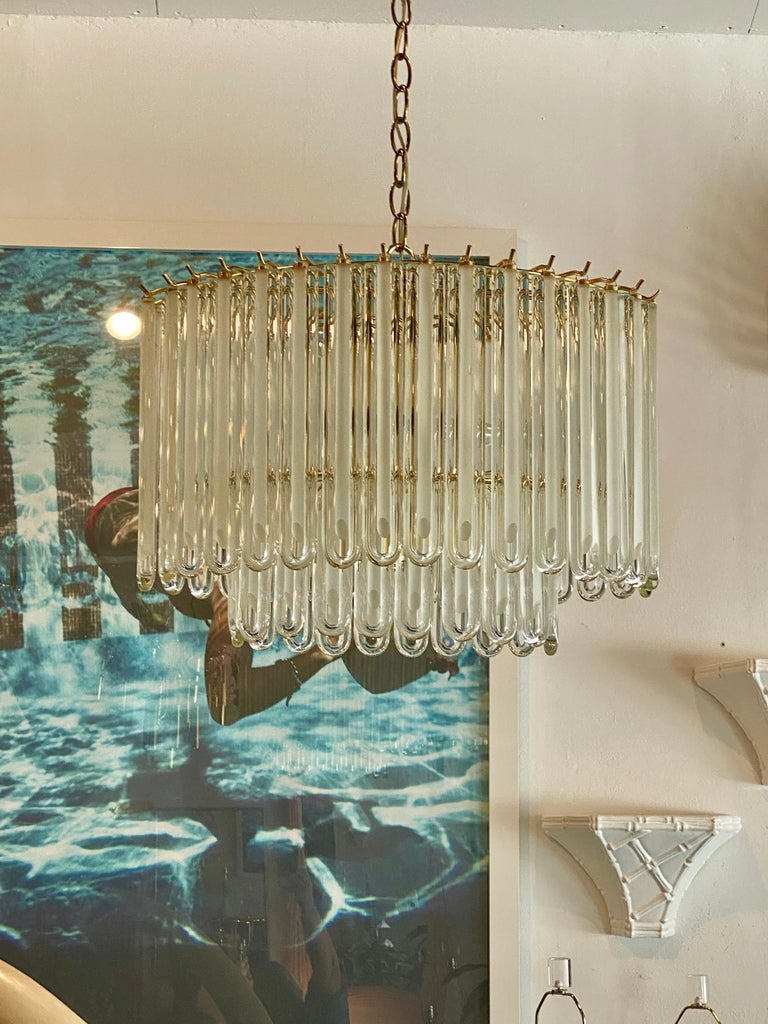 American Vintage Murano Glass Two-Tier Chandelier Italian Brass Cage For Sale