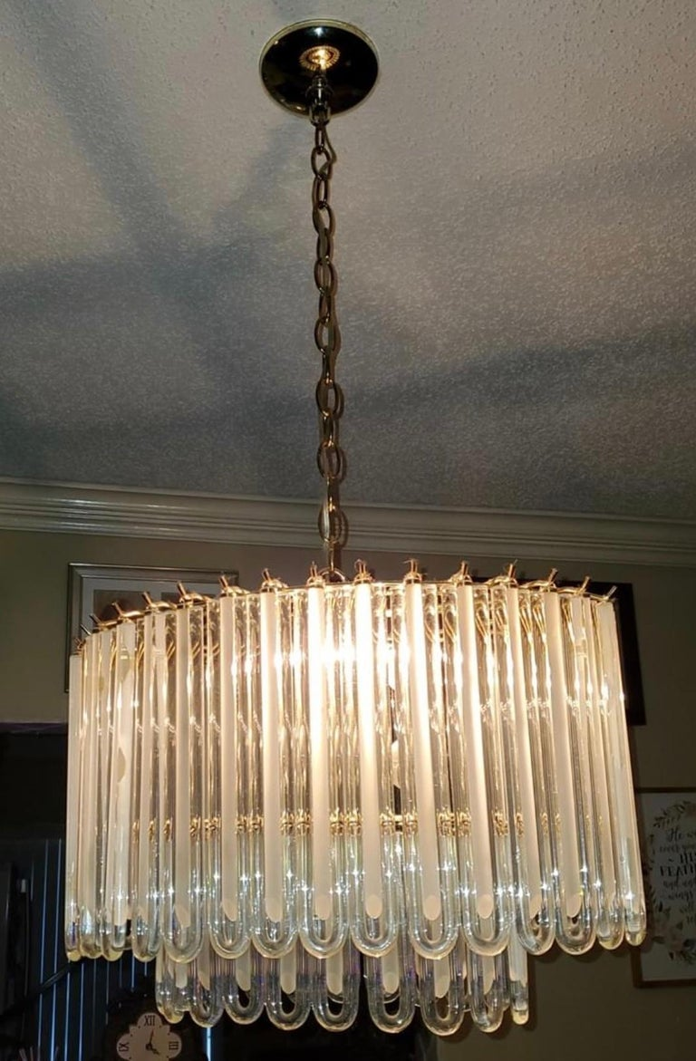 Vintage Murano Glass Two-Tier Chandelier Italian Brass Cage For Sale 1
