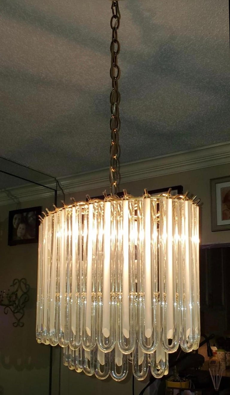 Vintage Murano Glass Two-Tier Chandelier Italian Brass Cage For Sale 3
