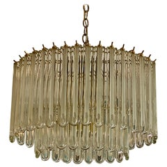 Vintage Murano Glass Two-Tier Chandelier Italian Brass Cage