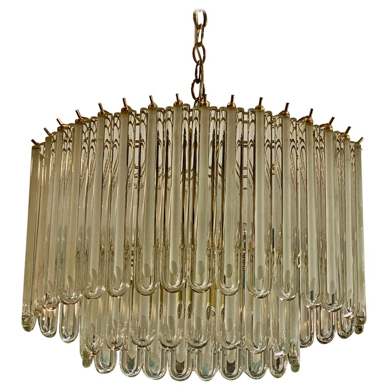 Vintage Murano Glass Two-Tier Chandelier Italian Brass Cage For Sale